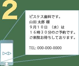 例:ピスケス歯科です。山田 太郎 様9月10日(水)は16時30分のご予約です。ご来院お待ちしております。TEL: 000-000-0000