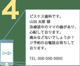 例:ピスケス歯科です。山田 太郎 様治療途中のママの歯があり、心配しております。痛みなどないでしょうか?ご予約のお電話お待ちしております。TEL: 000-000-0000